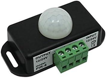DC 12V-24V Interrupteur de capteur de Mouvement Infrarouge PIR pour Bande de lumi/ère LED Interrupteur de minuterie de capteur de Mouvement Infrarouge PIR Automatique Noir