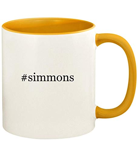 #simmons - 11oz Hashtag Ceramic Colored Handle and Inside Coffee Mug Cup, Golden Yellow