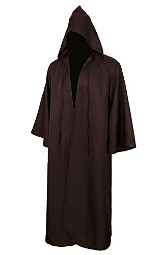 Men Tunic Hooded Robe Cloak Knight Gothic Fancy Dress Halloween Masquerade Cosplay Costume Cape (XL, Adult Brown)]()