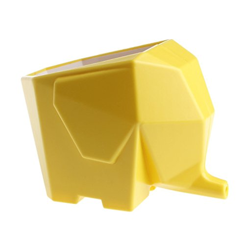 Cute Elephant Plastic Cutlery Drainer Storage Holder Box for Home Kitchen, Bathroom, Toothbrush, Small Knife Accessories (Yellow)