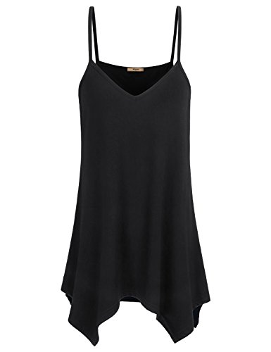 Miusey Womens Tank Tops Womens V Neck Fowly Swing Tunic Handkerchief Hem Spaghetti Strap A Line Casual Summer Stretch Beach Comfort Camisoles Black XL