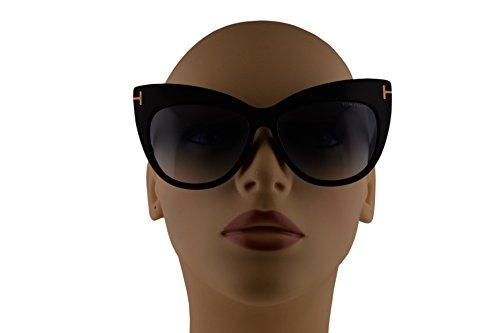 d06e5ee2ce62 Tom Ford FT0523 Nika Sunglasses Shiny Black w Blue Gradient Lens 01W ...