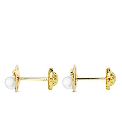 dd811ce25235 Pendientes bebé niña redondos oso y perlas 6 mm oro amarillo 18 ktes  circonitas cierre rosca