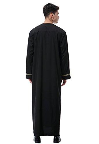 Arabo Lunghe Oriente Abito Medio Nero Uomo Girocollo Maniche Musulmano Gladthink q0CBpEw