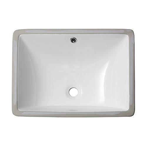 (Sarlai S020MP 20 '' Pure White Rectrangle Undermount Sink Porcelain Ceramic Lavatory Vanity Bathroom)