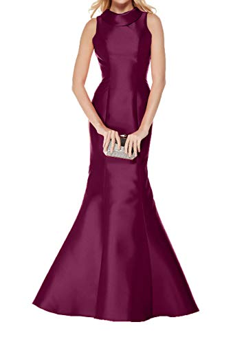 Einfach Damen Abendkleider Satin Fuchsia Meerjungfrau Ballkleider Partykleider Etuikleider Lang Figurbetont Charmant Dunkel 5fwqTCq