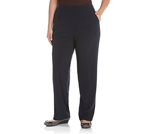 Studio Works by Briggs Plus Size Flat-Front Pull-On Pants Black 18W Short