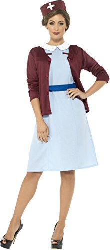 Smiffys Women's Vintage Nurse Costume, Blue, Medium]()