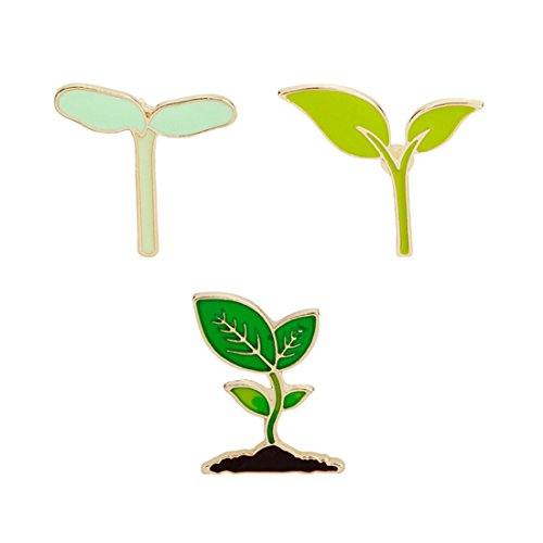WINZIK Novelty Lapel Brooch Pins Set 3pcs Fresh Style Leaves Plants Pattern Enamel-liked Pins Badges for Women Girls Kids Clothes Backpacks -