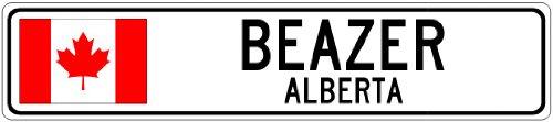 Beazer  Alberta   Canada Flag City Sign   9 X36  Quality Aluminum Sign