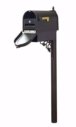 Special Lite Products Company Berkshire Curbside Mailbox With Front Numbers, Newspaper Tube, Locking Insert And Albion Mailbox Post