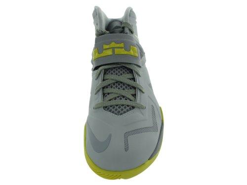 Nike Zoom Soldier Vii Mens Scarpe Da Basket 599264-001 Platino Puro / Grigio Lupo / Giallo Sonico