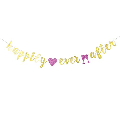 (Gold Glitter Happily Ever After Banner - Wedding Sign - for Wedding/Engagement/Bridal Shower Party Decorations)