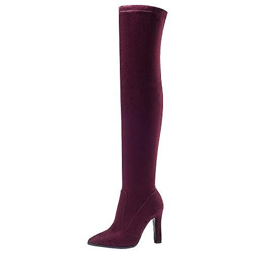 Heels Heels Heels 3 Donne Stivali Block Zanpa Moda On On On On Pull chiaretto Lunghi 8HwqatB