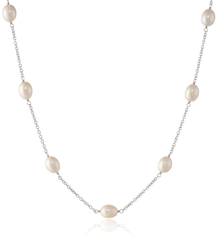 """: Sterling Silver and Freshwater Cultured Pearl (8-8.5 mm) Tin Cup Necklace, 18"""""""