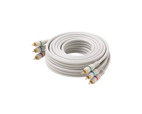 Steren Python Component Video Cable - 3 x RCA Male - 3 x RCA Male - 50ft - Ivory