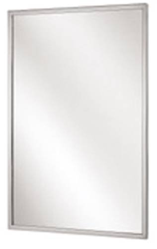 Bradley 781-024300 Roll-Formed Channel Frame Float Glass Mirror, 24'' Width x 30'' Height