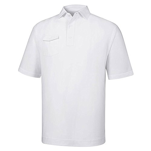 Tag Jacquard Polo (FootJoy Athletic Fit Solid Pique Self Collar (White, Medium))