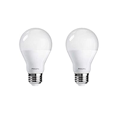 Philips 455931 60 Watt Equivalent A19 LED Light Bulb Dimmable Warm Glow, Frustration Free, 2-Pack
