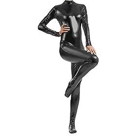 - 319z8hTDpsL - VSVO Shiny Metallic Unitard Catsuit Dancewear
