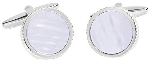 - David Van Hagen Mens Shiny Circle Textured Edge Mother of Pearl Centre Cufflinks - White/Silver