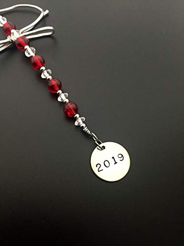 2019 Icicle Wine Bottle Charm/Ornament/Gift Tag - Icicle Christmas Ornament/Bottle Tag/Gift Tag with 3/4 inch Round Nickel Silver 2019 Charm with Jewelry Box - Handmade with Red Vintage Beads