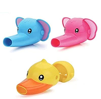 Faucet Extender Pack of 3 - Bathroom Faucet Extender For Kids - Animal Faucet Extender - Elephant, Dolphin & Duck