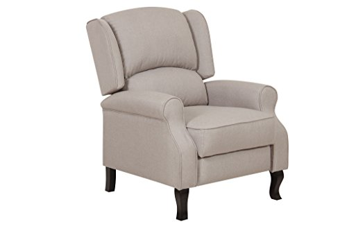 Container Furniture Direct Lily Modern Wing Back Fabric Accent Recliner  Chair, Beige