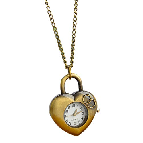 (oukery Pocket Watch Vintage Quartz Carved Heart Shape Bronze Exquisite Jewelry Charm Pendant Necklace Chain Watches Retro Women Female Party Gifts)