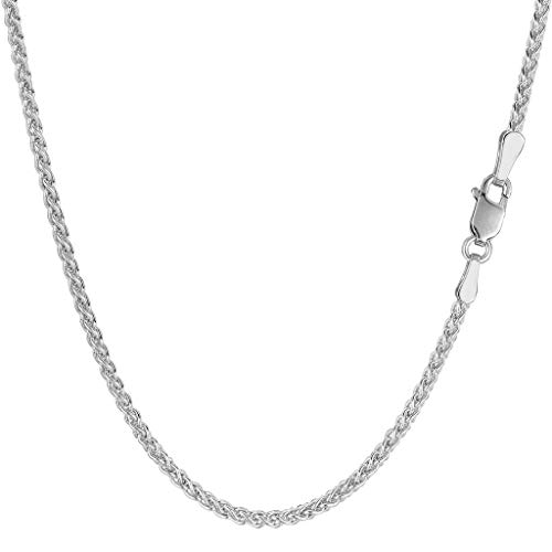 14K Yellow or White Gold 2.1mm Shiny Round Wheat Chain Necklace for Pendants and Charms with lobster-Claw Clasp (7