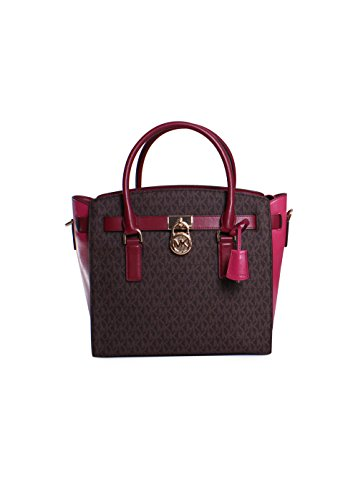 MICHAEL Michael Kors Studio Hamilton Large East West Satchel (Brown/Mulberry) by Michael Kors
