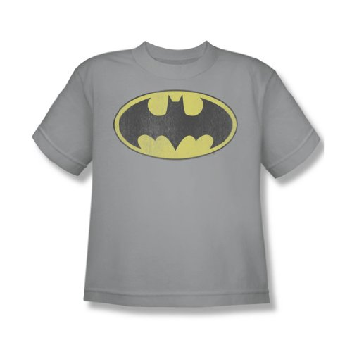 Batman+Retro+Shirts Products : Batman Retro Bat Logo Distressed Youth S/S T-shirt in Silver by DC Comics