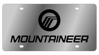 - Stainless Steel License Plate- Mercury Mountaineer L/W Black Logo, Black Word