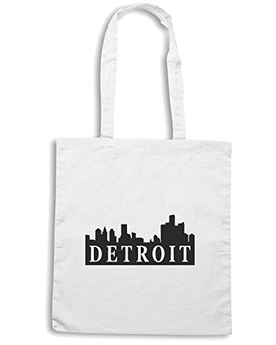 T-Shirtshock - Bolsa para la compra TSTEM0023 detroit skyline logo Blanco