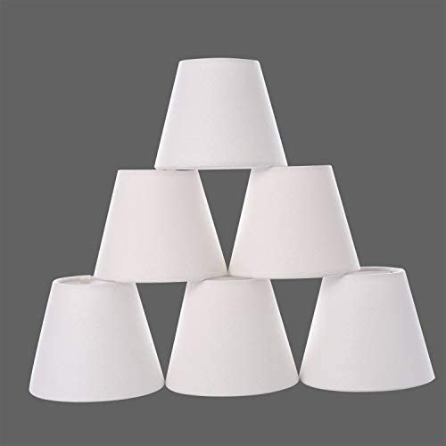 Chandelier Shades,Small lamp Shade Hardback, Clip on Shades with White Linen Dia 3 Top x 5 Bottom x 4 H Set of 6 White, 3x5x4