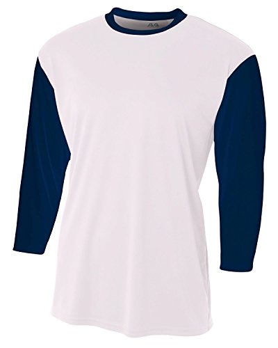 Sleeve Utility Shirt - A4 Youth 3/4 Sleeve Utility Shirt L White/Navy