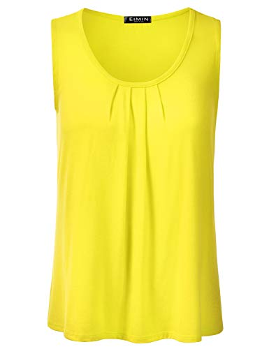 - EIMIN Women's Pleated Scoop Neck Sleeveless Stretch Basic Soft Tank Top Yellow S