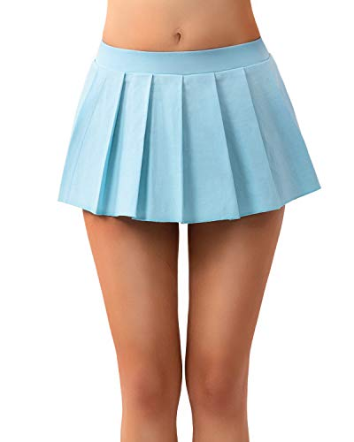 MYIFU Women Sexy Role Play Pleated Mini Skirt Solid Ruffle Lingerie Sleepwear (Light Blue, XXL)