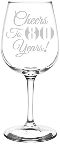 Cheers to 80 Years Wine Glass