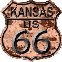 Bargain World Route 66 Kansas Rusty Highway Shield Novelty Metal Magnet (Sticky Notes)