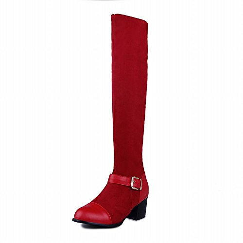 Carolbar Women's Sexy Charm Mid Heel Buckle Knee-High Boots Red OQHFg