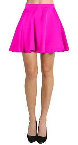 Skirt Womens Fuschia - Skater Skirt for Women Short Stretch Flared Skirts Elastic Waistband Made in USA,Neon Fuschia,Large