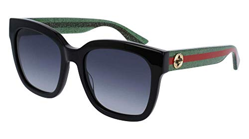Gucci GG 0006O 006 Black/Green Plastic Rectangle Eyeglasses 55mm