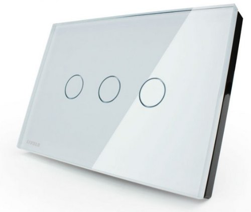 US/AU Standard, Switch VL-C303-81,3-gang 110~250V Smart home, Crystal Glass Panel, Touch Screen Control Wall Light