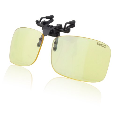 - DUCO Optiks Clip on Rimless Ergonomic Advanced Computer Glasses with Amber Tint Lens 8012
