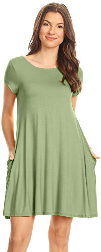 Womens Sage Green Flowy Dresses with Pockets Short Summer Dresses Loose T Shirt -
