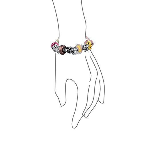Love Mother Enamel Glass CZ Bead Charms Bracelet Pink 925 Silver by Bling Jewelry (Image #2)