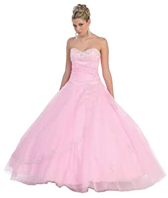 Ball Gown Formal Prom Wedding Dress #586 (6, Pink)