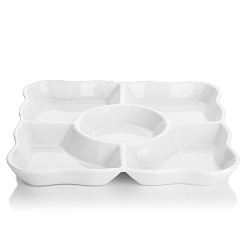 Melamine Porcelain Platter (DOWAN 9.4-inch Porcelain Divided Serving Trays/Square Serving Platters with Scalloped Rim, Set of 2,White)