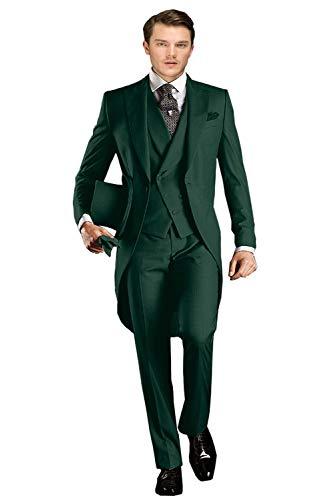 Wemaliyzd Men's Classic Fit 3 Pieces Tuxedo Suit Long Tail Jacket Waistcoat Pants(Olive Green,38S) ()